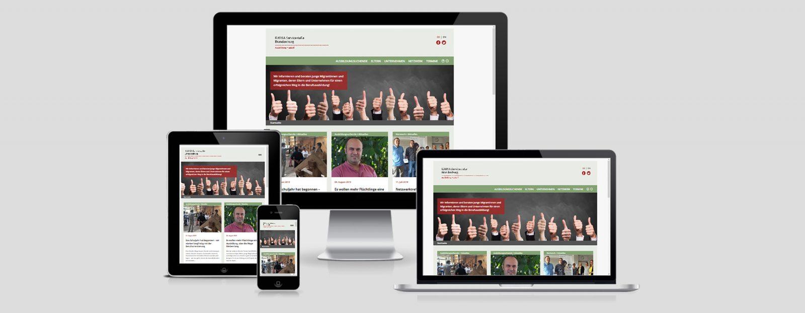 """Projekt-Website für die """"KAUSA Servicestelle Brandenburg"""""""